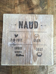 Geboorte bordje van steigerhout