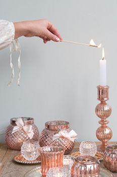 At Home Caldlestick Rose Gold