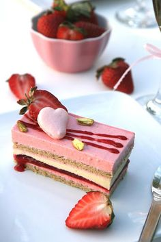 Pistachio and Strawberry Mousse Cake