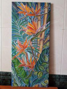 """Картина """"Тропики""""! Ручная роспись на ткани, техника холодный батик. Картина на деревянном подрамнике. Размер 90 х 40. Цена 550 грн. Телефон:+380667612624. Отправка: Новая Почта, Укрпочта. Оплата: наложенным платежем (при получении и осмотре). Lotus Painting, Hand Painting Art, Fabric Painting, Glass Painting Designs, Polynesian Art, Batik Art, Crafts With Pictures, Tropical Art, Silk Art"""