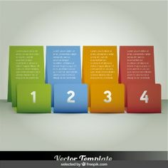 Cuatro banners de colores infografía