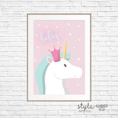 Pastel Magical Unicorn Believe Print by StylaPrintsAndDesign on Etsy https://www.etsy.com/au/listing/271208242/pastel-magical-unicorn-believe-print