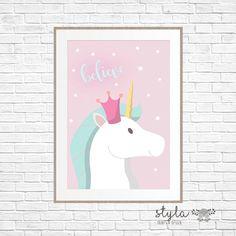 Pastel Magical Unicorn Believe Print by StylaPrintsAndDesign on Etsy https://www.etsy.com/au/listing/271208242/pastel-magical-unicorn-believe-print