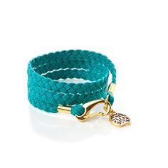 """WRAPPED WAX ROPE BRACELET - TURQS - 100% COTTON, DISTRESSED GOLD ELECTROPLATED S/M - FITS 6 3/4"""" - 7 3/4"""" WRIST (AVERAGE) L/XL- FITS 7 3/4"""" - 8 3/4"""" WRIST (ALSO FITS PETITE, BRACELET WILL WRAP AN EXTRA TIME AROUND THE SMALLER WRIST) PREMIUM BLACK WAX WRAP BRACELET WITH GOLD RASTACLAT CHARM.  $24.99"""