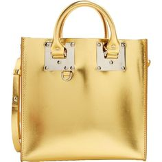Pre-owned Sophie Hulme Patent Leather Handbag ($387) ❤ liked on Polyvore featuring bags, handbags, shoulder bags, gold, women bags handbags, patent leather bags, beige patent leather handbag, sophie hulme, beige handbags and hand bags