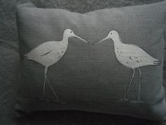 hand printed grey wading bird pair cushion by helkatdesign on Etsy