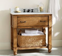 William Single Sink Console   Pottery Barn - something similar for the bathroom vanity - maybe out of pallets?