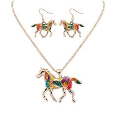 Beautiful High Quality Gold Plated Multicolor Horse Or Turtle Necklace And Earrings