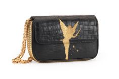 N°B1766  Hand cut and hand stitched elf with stars in gold lizard onto black crocodile and black lizard. Gold python on the sides, bottom and back. Hand embroidered gold motif onto 18th-century black Italian silk on the inside. Black leather inside lining.                  Taille : 21x12x6/7cm