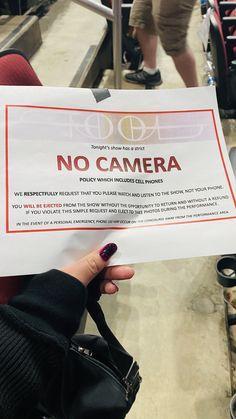 No camera policy, TOOL concert. Gila River Arena, Az. 2020