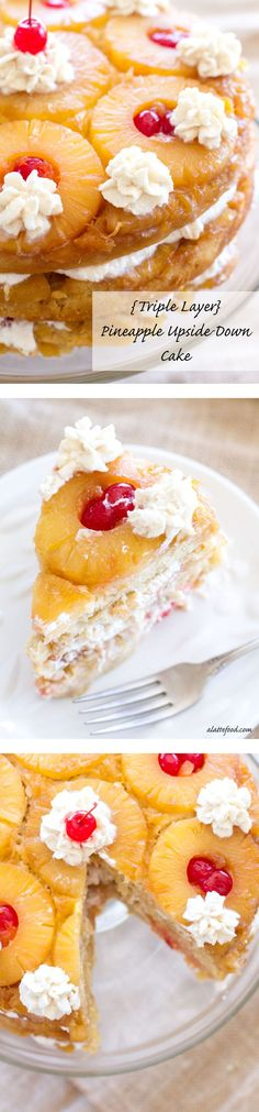 This pineapple upside down cake is three layers of caramelized pineapples, maraschino cherries, and homemade cinnamon whipped cream! | www.alattefood.com/