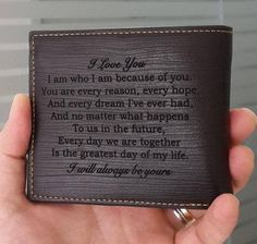 Personalized Mens Wallet / Engraved Wallet for Men / Anniversary Gifts for Men / Photo Wallet / Custom Mens Wallet / Gift for Him / for Dad Gifts For Husband, Fathers Day Gifts, Valentine Day Gifts, Valentines, Valentine's Day Quotes, Custom Mens Wallets, Leather Wallet, Men Wallet, Men's Leather