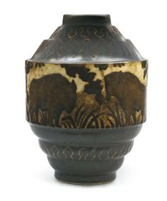 KERAMIS et Charles CATTEAU Exceptionnel vase en grès, de forme ovoïde à