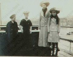 George Donatus of Hesse, Tsarevich Alexei, Grand Duchesses Olga and Anastasia aboard the Standart: 1912