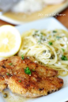Chicken picatta:  2 boneless, skinless Chicken breasts, cut in half lengthwise, to form 4 thin cutlets  1 cup Italian style bread crumbs  1 egg, beaten  4 Tablespoons butter  1/4 cup fresh lemon juice  1 cup chicken stock  1/4 cup brined capers, rinsed  1/4 cup fresh parsley, chopped  8 ounces Angel hair pasta  2 Tablespoons butter  1/2 cup freshly grated Parmesan cheese