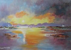 Buy Sunset Sailboats, Oil painting by Louis Pretorius on Artfinder. Water Reflections, Selling Art, Oil Painting On Canvas, Lovers Art, Impressionist, Buy Art, Original Paintings, Art Pieces, Palette Knife