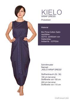 Wickelkleid Kielo Wrap Dress aus Bio Pima Satinstoff nachtblau von Siebenblau Bio Stoffe