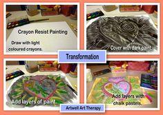 Transformation crayon resist painting