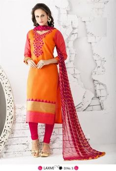Adorable Orange Chanderi Cotton Silk Salwar Kameez2429