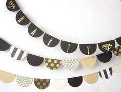 Happy Birthday Banner Black and Gold Geometric by FleurandStitch