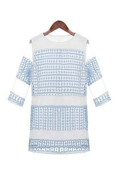 Pastel Blue Crochet Plaid Lace Mesh Panel Mini Shift Dress