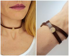 Leather Choker and double wrap bracelet with sand opal Swarovski slide bead by BijuBrill