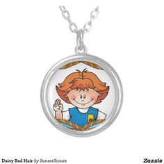 Daisy Red Hair Round Pendant Necklace