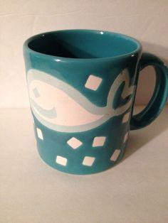 Waechtersbach coffee mug FISH with confetti blue Germany #Waechtersbach