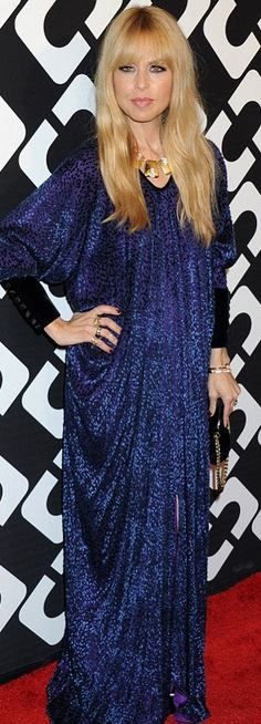Who made  Rachel Zoe's blue print maxi dress and gold jewelry that she wore in Los Angeles on January 10, 2013?