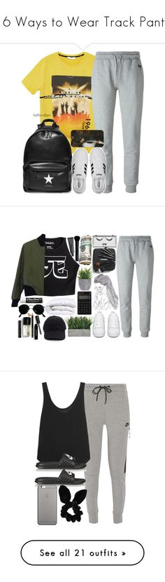 """""""16 Ways to Wear Track Pants"""" by polyvore-editorial ❤ liked on Polyvore featuring trackpants, waystowear, MANGO, McQ by Alexander McQueen, Givenchy, David Yurman, adidas, BlackLivesMatter, Mishka and Bobbi Brown Cosmetics"""