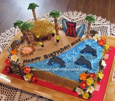 Homemade Luau Birthday Cake: When my niece told me her daughter was having a luau theme for her birthday party and wished she could have a cool cake, I offered to make her one. Using