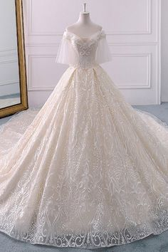 Ivory Ball Gown Tulle Off The Shoulder Long Train Wedding Dr.- Ivory Ball Gown Tulle Off The Shoulder Long Train Wedding Dress Ivory Ball Gown Tulle Off The Shoulder Long Train Wedding Dress - Wedding Dress Train, Dream Wedding Dresses, Bridal Dresses, Wedding Gowns, Tulle Wedding, Fluffy Wedding Dress, Wedding Gown Ballgown, Wedding Frocks, Wedding Ceremony