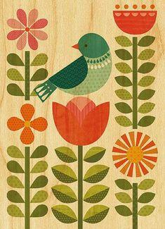 Look what I found on Small Blue Bird & Flora Wood Print by Petit Collage Folk Art Flowers, Flower Art, Flora Print, Scandinavian Folk Art, Indian Folk Art, Madhubani Painting, Fabric Painting, Bird Art, Pattern Art