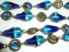 Vintage Cobalt Blue Glass Bead Necklace Wire by labaublesandbags, $32.00