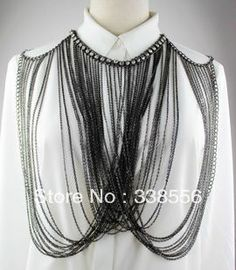 Ladies Crystal Harness Waves Shoulders Layered Tassel Full Body Chain Necklace $19.98