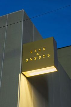 CASE-REAL ケース・リアル 福岡の飲食店「WINE & SWEETS TSUMONS」 #restaurantdesign Shop Signage, Storefront Signage, Restaurant Signage, Retail Signage, Wayfinding Signage, Signage Design, Restaurant Design, Signage Board, Detail Architecture