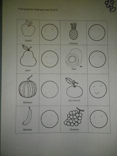 Fruit proeven in de klas en evalueren: vond je het lekker teken je een blij gezicht :)  vond je het niet lekker teken je een droevig gezicht :( *liestr*