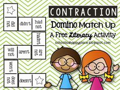 FREE Contraction Literacy Center (Contraction Domino Match Up)