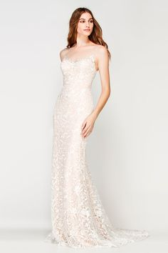 Willowby Dress Marseille Ivory Floral Lace over Rosegold Satin Lining