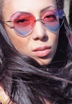 5e837cf2852 70 s oversized pink ombre heart shaped sunglasses hippie 70s Sunglasses