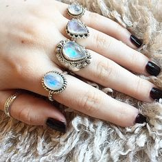 We're in Rainbow Moonstone heaven  Top-Bottom: Valentina, Elvie, Aurora, & Orlaith Rainbow Moonstone & Sterling Silver Rings  Place your order at www.druzydreams.com