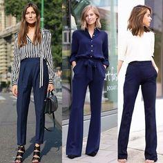 Abuse do azul marinho! As calças nessa cor combinam com tudo e são leves para o verão! 💙⚓️