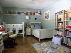 Blue children's room furnished with some IKEA.