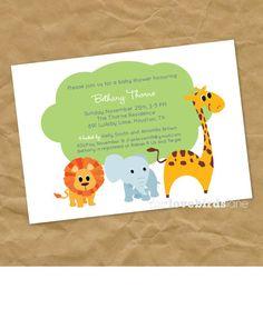 Zoo Animals: Baby Shower Invitation - Digital Printable File. $12.00, via Etsy.
