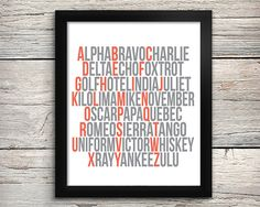 Phonetic Alphabet, Aviation Alphabet Print, Airplane Art, Aviation Nursery Decor, Coral and Grey on Etsy, $12.00