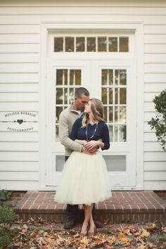 Engagement shoot featuring a Kellie Falconer tulle skirt in Ivory