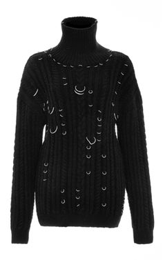 Oversized Pierced Cable Knit Turtleneck Jumper by MUGLER for Preorder on Moda Operandi