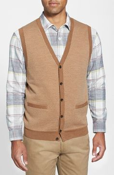 Nordstrom Merino Wool Button Front Sweater Vest available at #Nordstrom #grey