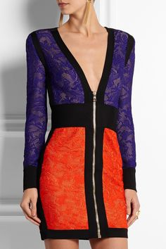 Balmain | Color-block crochet-knit mini dress | NET-A-PORTER.COM