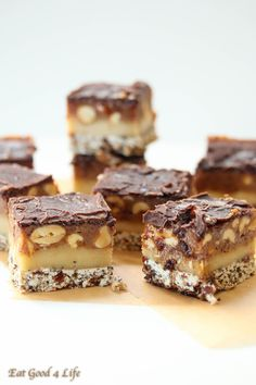Candy bars- Gluten free and vegan. These are to die for. These are no bake and easy to make!